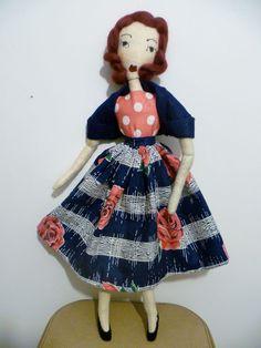 Vintage 1950s Roses Audrey Rag / Cloth Doll.