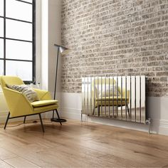 600x1210mm Chrome Single Flat Panel Horizontal Radiator | soak.com Horizontal Radiators, Panel Radiators, Next Bathroom, Color Chrome, Surface Area, Metallic Colors, Flat, Furniture, Tv