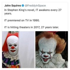 935ddde60a256 It Stephen King 27 years Pennywise