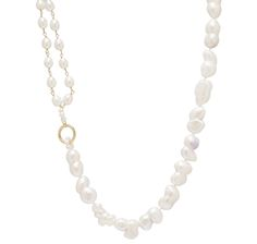 FOUR EASY PAY! $68.33 Create a chic, fun appeal with this eye-catching 14K yellow gold freshwater pearl baroque necklace