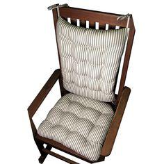 Ticking Stripe Black Rocking Chair Cushions - Latex Foam Fill