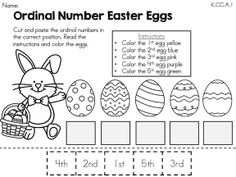 Ordinal Number Easter Eggs >> Cut and Paste Ordinal Numbers in the correct order and color the Easter eggs according to instructions >> Part of the Easter Kindergarten Math Worksheets Packet