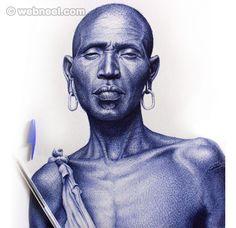 20 Realistic Ballpoint Pen Drawings from African Artist Enam Bosokah   Read full article: http://webneel.com/pen-drawings   more http://webneel.com/drawings   Follow us www.pinterest.com/webneel