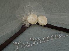 Personalized wedding dress hanger, bridal hanger, wedding shower gift, bridal shower gift, bride, wedding, hanger