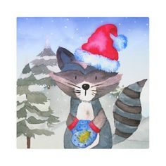 #Posters #Metal #Art - #Winter Forest Woodland Friends Racoon Illustration Metal Print