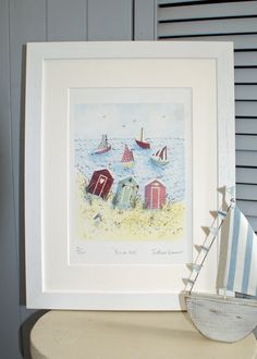 Beach Huts  Unframed limited edition print by JKIllustration, £15.00