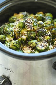 Slow Cooker Balsamic Brussels Sprouts-- forget the balsamic glaze. Just cook the brussel sprouts with some yummy seasoning