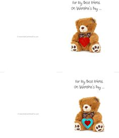Valentine's Day Best Friend Teddy Bear Double-Sided Cards