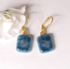 Smokey Blue - Gold Dragonfly Fused Glass Earrings  by GreenhouseGlassworks, $16.00