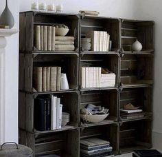 Bookshelf with fruit box