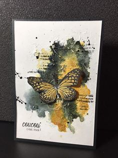 handmade greeting card ... Coucou c est moi ! ... one layer ... artsy look ... black and orange ... life-like butterfly ... puddle of water color ...