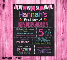 First Day of Kindergarten Sign  First Day by HannahsCustomDesigns
