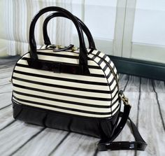 NWT Kate Spade Chelsea Park Porter Patent Leather Stripe Satchel Handbag #katespade #Satchel