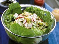 Mahtavaa kesäruokaa!! Peruna-retiisisalaatti Lettuce, Salads, Vegetables, Food, Vegetable Recipes, Eten, Salad, Veggie Food, Meals