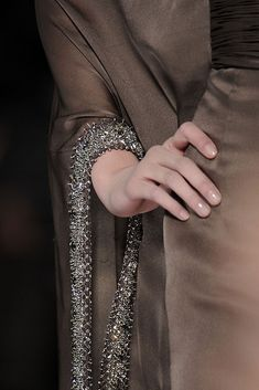 Crystal encrusted sleeve trim - couture closeup; elegant fashion details // Valentino