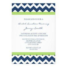 Lime Blue Chevron Bridal Lunch Invitation Cards