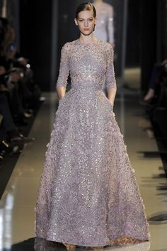 Elie Saab Spring 2013 Couture. This dress is my favorite moment of Couture 2013, the silhouette is like a dream and the lilac shimmer and flowery embroidery is devine.