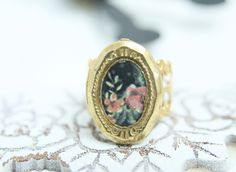 Vintage style ring jewelry filigree and photo locket pink rose print on black background, adjustable ring, raw brass antique style gold tone by OretaVintage on Etsy