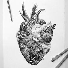 Wild at Heart — A Million Tiny Lines tattoos Wild at Heart — A Million Tiny Lines Coeur Tattoo, Petit Tattoo, Body Art Tattoos, New Tattoos, Sleeve Tattoos, Tatoos, Ocean Tattoos, Arm Tattoo, Natur Tattoos