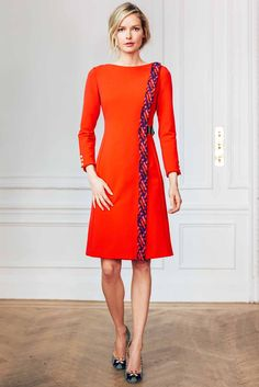 Bateau Neck Bracelet length Sleeve Dress With Woven Trim and Leather S | Isoude