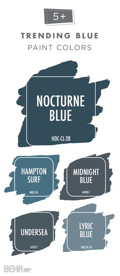 Looking for a deep and moody shade of blue that will add some drama wherever it goes? Check out this collection of trending blue BEHR Paint colors. Pair darker shades like Nocturne Blue, Midnight Blue, and Undersea with pops of bright gold to create a sense of glamour. Colors like Hampton Surf and Lyric Blue have a gray undertone that goes well with white.