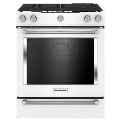 KitchenAid 30 in. 6.5 cu. ft. Slide-In Gas Range with Self-Cleaning Convection Oven in White-KSGB900EWH - The Home Depot