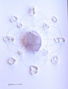 AMETHYST  CRYSTAL GRID   s t o n e s: Clear Quartz-purification and change. Quartz transmits a high frequency that brings about smooth yet rapid changes in health or general conditions amplifies surrounding stones, directs energy , programs intentions  amethyst- serenity, letting anything that does not serve your highest good, protection, peace, stability, success in business  sacred geometry: Seed of Life