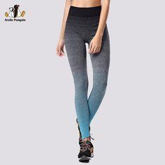 New Women Sport Leggings Fitness Elastic Running Legging Gradient Gym WorkOut Leggins Knitted Yoga Pants