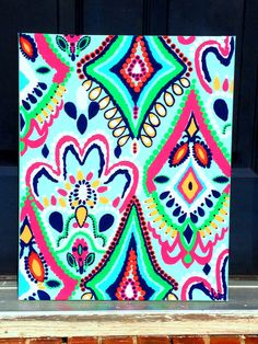 Lilly Pulitzer Crown Jewels inspired canvas by KatiedidDecor, $55.00