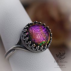 CONJURE Sterling Silver Ring Dichroic Glass Cabochon Purple Victorian