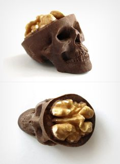 Chocolate Skulls Gone Nuts by Sparganum  The skulls are available in white, milk and dark chocolate, while the brains are available in walnut and candy.