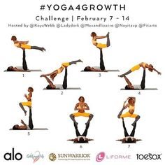 It's time for UNITY, ONENESS AND CONNECTION!!!! We have another #Yoga4Growth challenge for you February 7-14th with @koyawebb @ladydork @maxandlizacro @nayitavp and @fitarts ✨ ------ Tag your Friends and Repost this graphic! ------ We will focus on BASIC ACRO YOGA POSES this month. Don't worry. We're listening to you and will post more videos for beginners as well as advanced options for those who have been growing with us a while. We got YOU! ------ How the #Yoga4Growth challenge... Acro Yoga Poses, Challenge Me, Listening To You, Gym Workouts, Unity, No Worries, Gymnastics, Connection, February