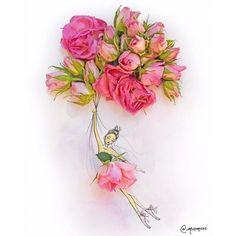 20 Extraordinary Illustration of Fashion Designer Using Vegetables and Flowers in Her Drawings - Blumen Art Floral, Art Fantaisiste, Art Mignon, Arte Fashion, Fleur Design, Pressed Flower Art, Flower Fashion, Dress Fashion, Whimsical Art