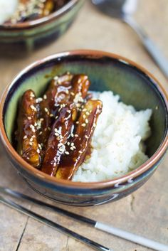 Aubergines caramélisées au sésame / Caramelized eggplant with sesame Raw Food Recipes, Veggie Recipes, Asian Recipes, Vegetarian Recipes, Cooking Recipes, Rice Recipes, I Love Food, Good Food, Yummy Food