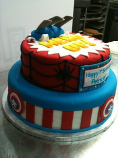 birthday cake for Abbi and Eli. Minus spiderman(make it iron man) and Minus Wolverine(make it hulk)