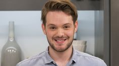 John Whaite of Great British Bake Off fame joins us in the Lorraine kitchen today to make his lemony pudding which he likes to serve with seasonal roasted rhubarb. John Whaite, White Chocolate Sauce, Great British Bake Off, Lemon Curd, Cooking Recipes, Bobs, Lush, Random, Desserts