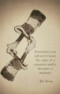 Sometimes you will never know the value of a moment until it becomes a memory. --Dr. Seuss