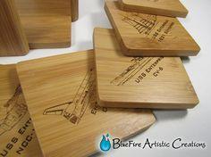 Star Trek Art Bamboo Coaster Set USS by BlueFireEngraving on Etsy
