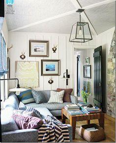 large furniture, small room.  fun!