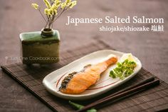 Homemade Japanese salted salmon (塩鮭) with crispy salmon skin, garnish with lemon. Typically served as a Japanese breakfast dish. Recipe uses Sake Salmon Recipes, Fish Recipes, Seafood Recipes, Asian Recipes, Dinner Recipes, Cooking Recipes, Ethnic Recipes, Yummy Recipes, Dinner Ideas
