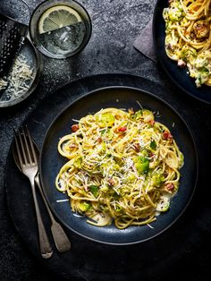 Pair earthy brussels sprouts with plenty of cream, pancetta, garlic, white wine and lemon for a genius spaghetti tea for two Brussel Sprouts With Pancetta, Pancetta Pasta, Brussels Sprouts, Classic Carbonara Recipe, Easy Dinner Recipes, Pasta Recipes, Pesto Pasta Bake, Baby Carrot Recipes, Lemon Spaghetti
