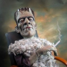 Boris Karloff as Frankenstein's monster, sculpture by Bill Nelson