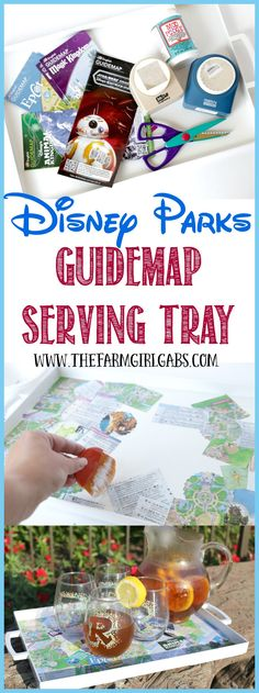 Do you have some extra Disney Parks Guidemaps from your recent visit to Walt Disney World? Serve up some fun memories (and some drinks) with this Easy Disney Parks Guidemap Serving Tray. This simple Mod Podge craft is perfect for the Disney fan!