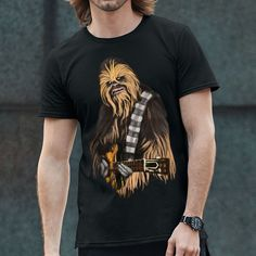 This fun parody tee is right on the money, Chewbacca does Rock! We love this loyal Wookie maybe more than Maz. Get this fun tee for your Star Wars t-shirt collection today! 100% cotton Gildan brand te