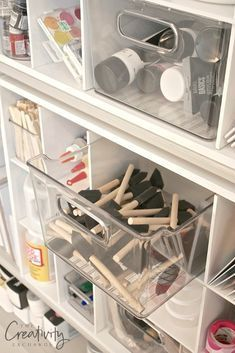 Creative Ways to Organize Craft Supplies and Paint perfect! The post Creative Ways to Organize Craft Supplies and Paint appeared first on Storage ideas. Craft Room Storage, Craft Room Organizing, Organization Ideas, Storage Ideas, Organize Craft Closet, Craft Room Shelves, Art Studio Storage, Craft Storage Solutions, Craft Cabinet