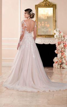 6364 A-line Wedding Dress with Illusion Neckline by Stella York