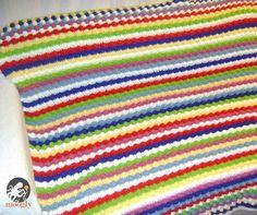 Blackberry Salad Striped Afghan