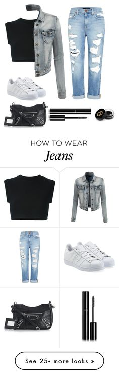"""""""Jeans Theme """" by laujocelynnn on Polyvore featuring adidas Originals, LE3NO, Genetic Denim, Balenciaga, Chanel and Gucci"""
