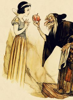 "Concept art for Disney's 1937 animated feature ""Snow White and the Seven Dwarfs.""    Drawn by Gustaf Tenggren."