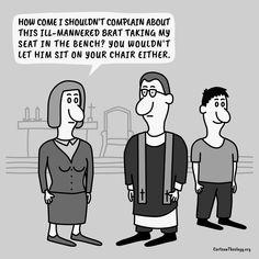 Vy byste ho také nenechal sedět ve svém křesle – Kreslená teologie Christian Cartoons, Christian Humor, Church Humor, Let It Be, Memes, Chair, Meme, Stool, Chairs